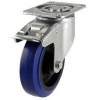 100DR4BNBSWB 100mm Blue Elastic Rubber on Nylon Centre - Braked