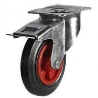 100DR4PSBSWB 100mm Black Rubber on Plastic Centre Castor - Swivel Braked