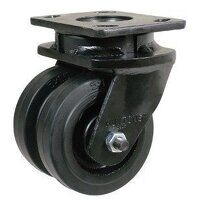 2BZK200CIBJ 200mm Black Painted Cast Iron Heavy Duty Castor - Swivel 4 Bolt Unbraked