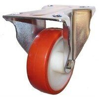SS80DR8PNO 80mm Stainless Steel Polyurethane Tyre Nylon Centre Castor - Fixed 4 Bolt Unbraked